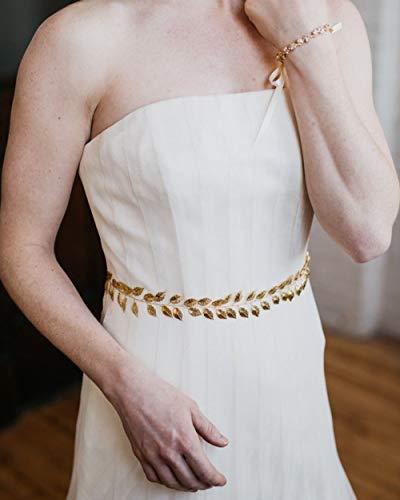 Simsly Bridal Belt Leaf Taille Kette Brautkleid Schärpe Gürtel für Bräute und Brautjungfern(Gold)