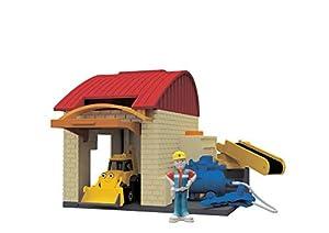 Simba Dickie 203133009Bob el constructor garajes Juego Set de 3para niños a partir de 3años öffnendem portería y Rampa de disparo. El está baggi 7cm, 1x figura 4cm, förderband, accesorios. , 10x 12cm