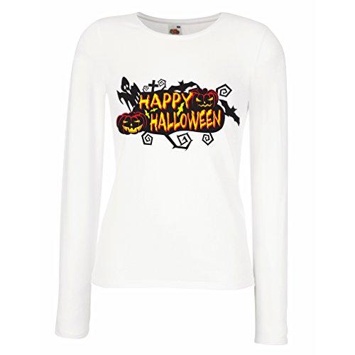 Superhelden Outfit Weibliche (Weibliche langen Ärmeln T-Shirt Owls, Bats, Ghosts, Pumpkins - Halloween outfit full of Spookiness (XX-Large Weiß)
