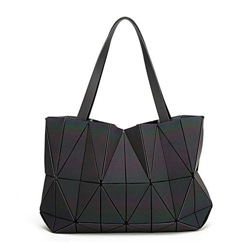 PXUDB 2018 Mädchen Mode Scherbe Gitter Design Geometrisch Tasche PU-Leder Einzigartige Geldbörsen Schultertaschen Handtaschen Große Kapazität (Luminous),Luminous-42*27*8cm -