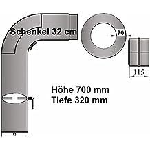 Ofenrohr Rauchrohrset 3tlg mit Drosselklappe Stahl Senotherm grau Ø 180 mm