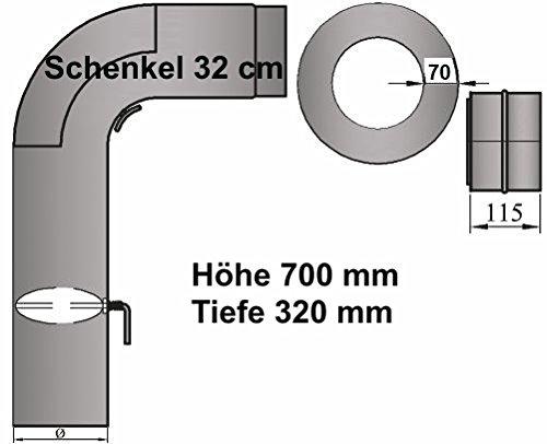 LANZZAS Ofenrohr Kaminrohr Rohrset 3tlg. mit Drosselklappe Fullform Bogenset rund (H700xT320mm) Stahl 2 mm Senotherm Ø 150 mm grau