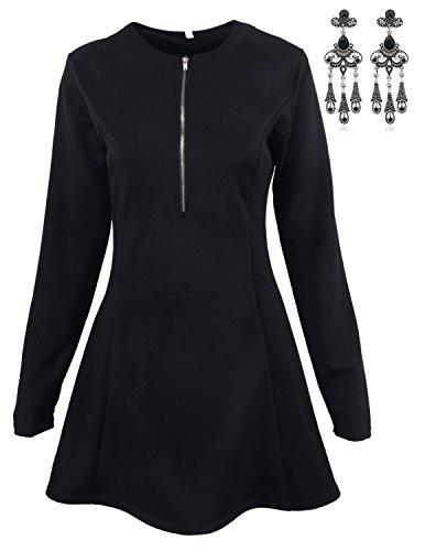 Modetrend Femmes Manches Longues Robe de Soirée Cocktail Casual Parti Swing Rockabilly Robe Sexy Col V Fermeture éclair Noir