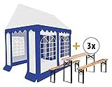 Stagecaptain Bavaria Tendone per feste Pavillon 3x4m Set con 3 completi di panche e tavoli