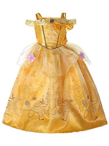 FStory&Winyee Mädchen Prinzessin Belle Kostüm Gelb Kinder Cosplay Tutu Blumen Kleid Karneval Verkleidung Party Weihnachten Faschingkostüm für Mädchen (Prinzessin Belle Tutu Kleid)