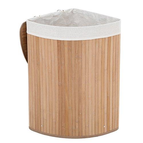 Songmics cesto cesta porta biancheria lavanderia foderato pieghevole rotondo in bambu triangolo lcb58s