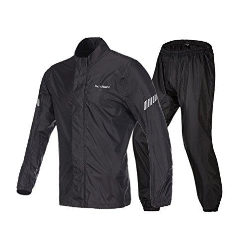 LAXF-Regenjacken Outdoor Motorrad Regenanzug für Männer Wiederverwendbare Regenkleidung (Regenjacke und Regenhosen Set) Erwachsene Wasserdicht Regenfest Winddicht mit Kapuze (Größe : M)