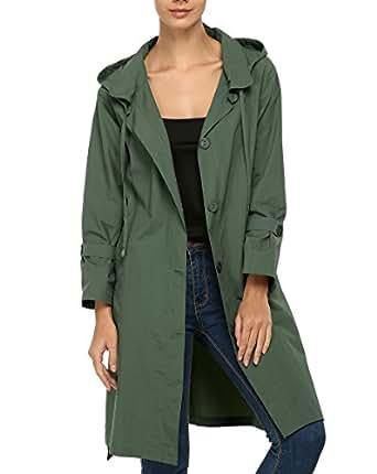cravog damen regenmantel regenjacke raincoat wasserdicht mit kapuze jacken m ntel. Black Bedroom Furniture Sets. Home Design Ideas