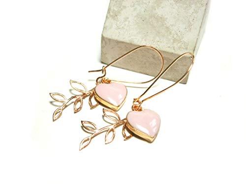 Roségold vergoldete Ohrringe Blatt Herz rosa