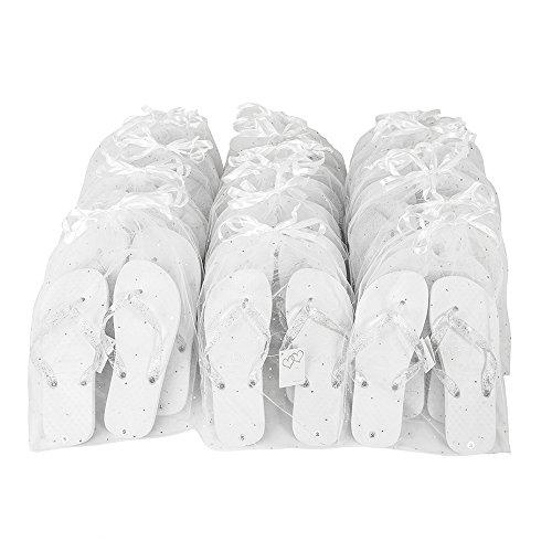 Zohula Hochzeit Weiße Flip-Flops Zehentrenner Partypaket - 20 Paare verschieden große Flip-Flops