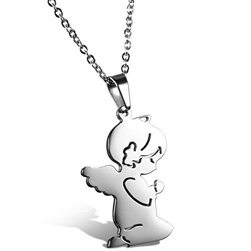 Mit Niedliche Mädchen (JewelryWe Schmuck Damen Frauen Halskette, Niedliche Betende Engel Mädchen Anhänger mit 45cm Kette, Edelstahl, Silber)