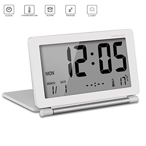 Belamoda Reisewecker LCD Digitalwecker Elektronische Uhr Bedside Kleine Wecker Desktop Clock Klapp Travel Portable Reise Wecker Alarmzeit, Zeit, Temperatur und Datum Funktion Multifunktionale Modische Rechteck (White)