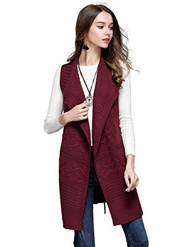 CIDEARY Pull Ouvert Uni Sans Manches pour Femmes Longue Cardigan Vin rouge