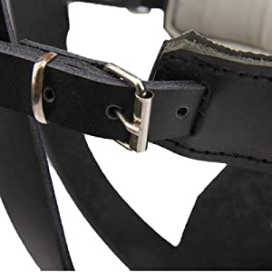 SRY- Fournitures pour animaux Cage en acier style chien panier fil museau protection muselière avec bracelet en cuir pour chien berger Mignon et pratique