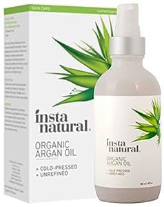 InstaNatural huile d'argan organique - Pure pressée 100% du Maroc et certifiée organique - Pour les cheveux, l'acné, les ongles, le cuir chevelu sec, les pointes fourchues & les vergetures - 120 ml