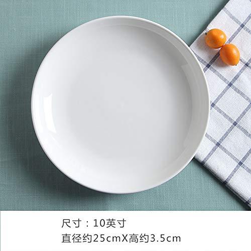 Reine Weiße Keramik Teller Teller Reis Teller Scheibe Grill Hot Pot Dish Verdickung Hotel Hotel Geschirr 10 Zoll