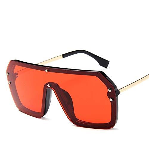 Europa und die vereinigten staaten trend einteilige sonnenbrille mode großen rahmen metall ozean objektiv sonnenbrille persönlichkeit brille rotgold rahmen