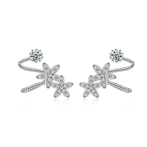 LANMPU 925 Sterling Silber Ohrstecker Ear Cuff Blume Ohrringe für Frauen
