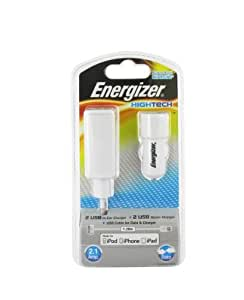 Energizer HighTech Chargeur 3 en 1 2USB pour iPhone/iPod/iPad 2,1 A