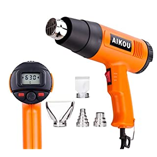 1800W Heat Gun AIKOU 220V Adjustable Temperature[122-1166℉]Hot Air Gun with Rear LCD Display Digital Controls Fast Heating Blower Kits for Stripping Paint, Soldering Pipes, Shrinking PVC(Orange)