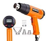 Pistola ad Aria Calda, 1800 W, Temperatura Regolabile in Continuo da 60° C a 630° C inclus LCD e 4 Pz Resistente al Calore Ugelli