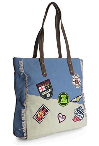 Lovely Lauri Patchwork Canvas Handtasche Bag Vintage Schultertasche Blau