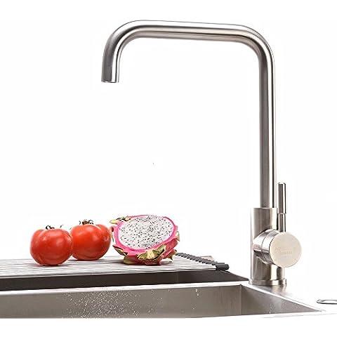 ODJG Acciaio inox cucina rubinetto acqua calda e fredda ruotare