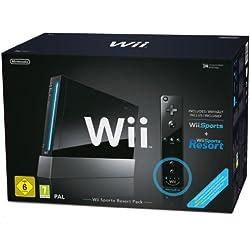 Console Wii noire + Wii Sports + Wii Sports Resort + Télécommande Wii Plus noire