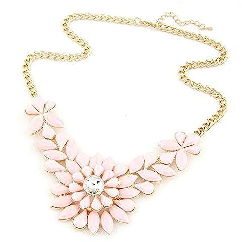 LHWY Women's Elegant Fashion Rhinestone Flower Resin Statement Necklace Pendant for Girls (Pink)