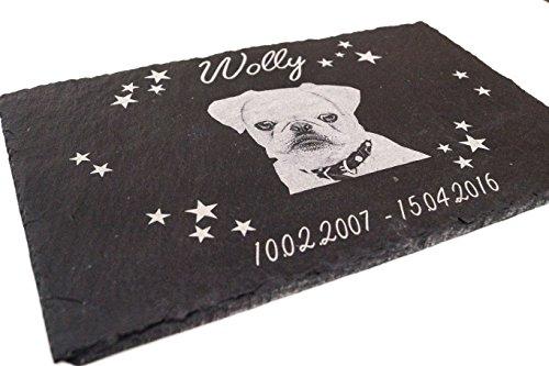 """Gedenktafel mit Gravur und Fotogravur und Motiv """"Sterne"""" Grabplatte Gedenkplatte ca. 30 x 20 cm für Tiere / Hund Katze Pferd mit Foto schönes Andenken an die Liebsten-und-Text-gravur - kein Druck!"""
