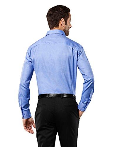 Vincenzo Boretti Herren Hemd Slim Fit Tailliert Bügelfrei Uni Blau