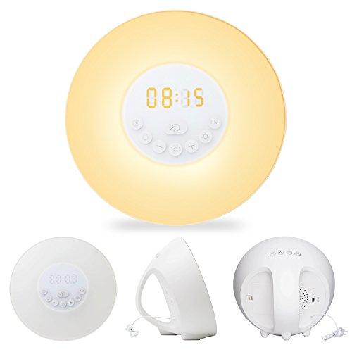 Wecker mit Aufweck-Licht Sonnenaufgangs-/Sonnenuntergangs-Simulation, Nachttischlampe 6 Naturgeräusche FM-Radio, Dimmbares Licht mit 7 Farben 10 Helligkeits-Stufen, Berührungssteuerung (Touch Control)