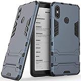 Hülle für Xiaomi Mi Max 3 (6,9 Zoll) 2 in 1 Hybrid Dual Layer Shell Armor Schutzhülle mit Standfunktion Case (Blau Schwarz)