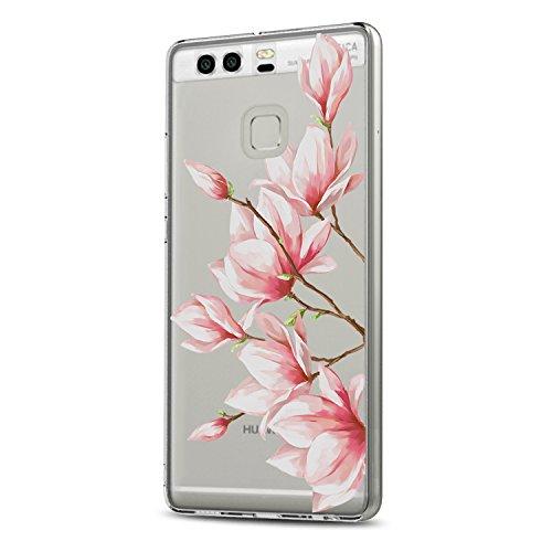 Riyeri Hülle Kompatibel mit Huawei P9 Hülle, Clear Ultra Dünn TPU Silikon Muster Kratzfeste Stoßdämpfend Bumper für Huawei P9 - Rose Flower (Huawei P9, 11) Klar 11