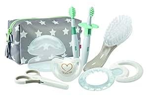NUK 10256412 Welcome Set, perfekte Erstausstattung für Neugeborene, sieben NUK Produkte in einer schönen Tasche, Weiß/Grau/Mint Neutral
