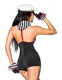 6 Pièces marine matrosin costume de carnaval noir/rouge/blanc taille unique - Multicolore - Taille unique