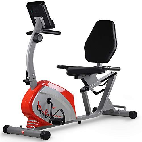 Warmth Supplies Training Bike, Mute Übung Fahrrad zu Hause Spinning Fahrrad Gym Magnetic Control Car Indoor Rehabilitation Horizontal Übung Bike,red
