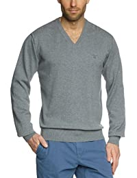 GANT Men's Light Weight Cotton Long Sleeve V-Neck Jumper