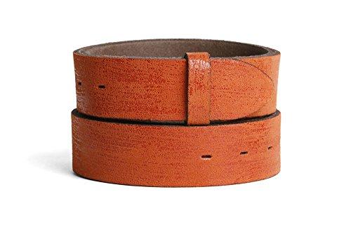 VaModa Ledergürtel Jeansgürtel Belt, Nassau orange, Länge=100cm, Druckknopfverschluß, ohne Schließe