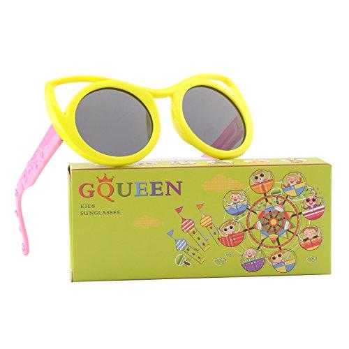 GQUEEN Gummi Flexible Kinder Cateye Polarisierte Sonnenbrille für Jungen Mädchen Baby und Kinder...