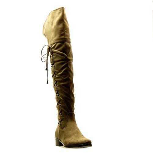 Angkorly - Scarpe Moda Stivali Alti Stivali - Scarponi cavalier flessibile donna merletto nodo Tacco a blocco 3.5 CM Khaki