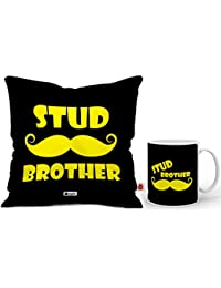 Indigifts Printed Gift Set of Cushion with Filler, Mug 330 ml, Crystal Rakhi Roli & Greeting Card for Brother