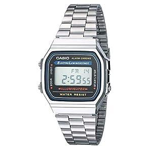 Casio A158WA-1DF – Reloj digital de cuarzo para hombre con correa de metal, color plateado