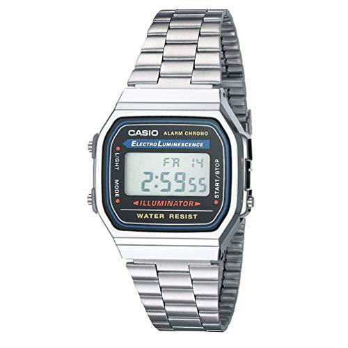 Casio orologio analogico-digitale unisex con cinturino in metallo a158wa-1df