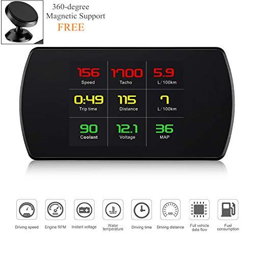 4,3 Zoll Universal-gps (Universal Auto HUD Head Up Display Digital GPS/OBD2 Tachometer mit Geschwindigkeitsprüfung Bremstest Übergeschwindigkeit Alarm 4,3 Zoll HD LCD Display für alle Fahrzeuge)
