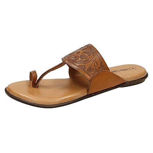 Leather Collection Damen Floral Zehenschlaufe Sandale Weiß