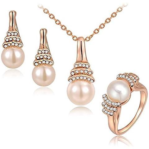 Cristalli pavimentazione da donna placcato oro rosa 18kt ciondolo di perla gioielli set collana e orecchini e anello