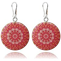 Runde Große Mandala-Ohrringe in der Farbe Rosa Koralle für den Urlaub by Dragon Porter