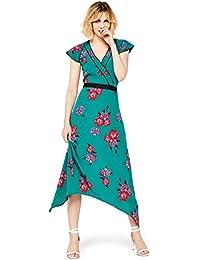 find. Femme Robe Midi Portefeuille à Fleurs
