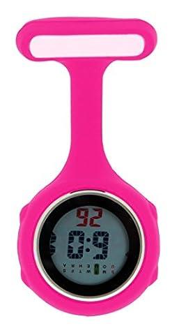 Ellemka JCM-330 FOB Nurse Clip Watch Digital Multi-functional Quartz Silicone Backlight Brooch Pin Tunic Pendant Paramedic Doctor Nursing Medical Hospital Watches Magenta